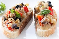Tuna Tomato Pesto Bruschetta