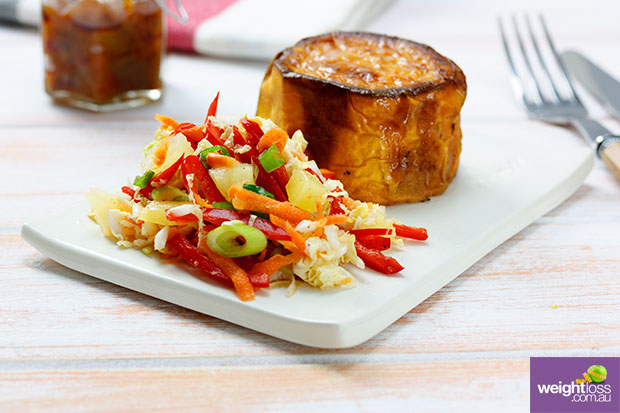Baked Sweet Potato with Pickled Slaw