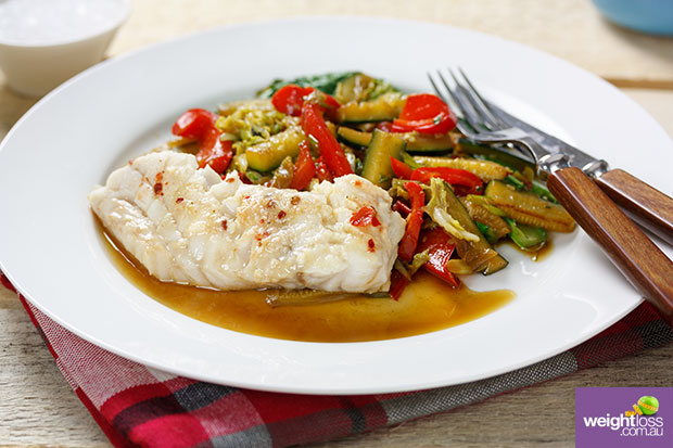 Steamed Chinese Fish & Sauté Vegetables